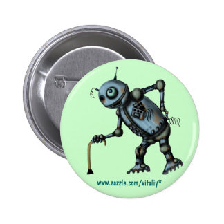 Funny cool old robot button design