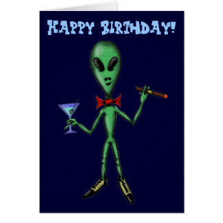 Funny cool party alien happy birthday card design