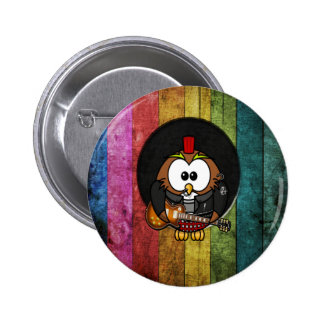 Funny cool rock&roll owl with piercings playing pinback buttons