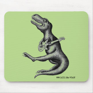 Funny cool rocking dinosaur ink drawing art mouse pad