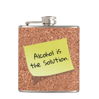 FUNNY Cork Board with Customizable Text on Post It Hip Flask