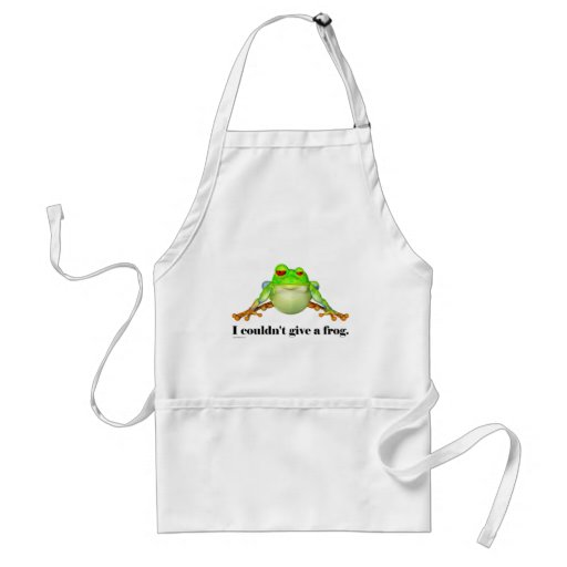 Funny Couldn't Give a Frog Cartoon Apron