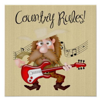 Funny Country Music Guitarist Posters