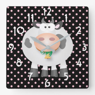 Funny Cow And Black And Pink Polka Dot Pattern Square Wall Clock
