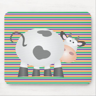 Funny Cow And Green Orange Purple Striped Pattern Mouse Pad