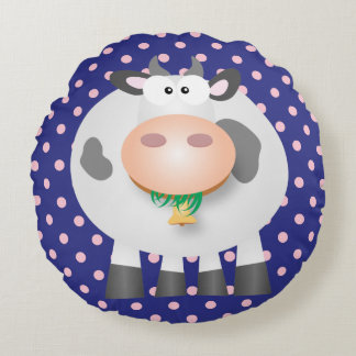 Funny Cow And Pastel Pink Polka Dot Round Pillow