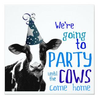 Funny Cow Bachelor or Bachelorette Party 13 Cm X 13 Cm Square Invitation Card