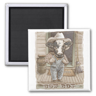 Funny Cow Boy by Mudge Studios Square Magnet
