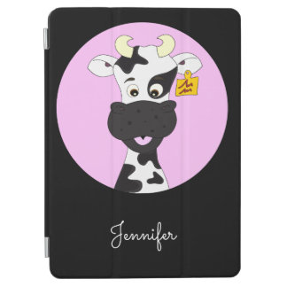 Funny cow cartoon pink black name kids iPad air cover