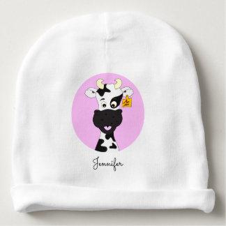 Funny cow cartoon pink custom baby beanie