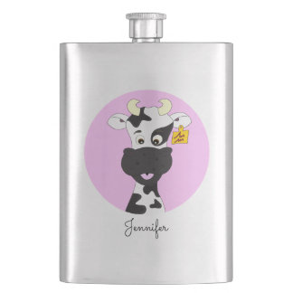 Funny cow cartoon pink custom girls classic flask
