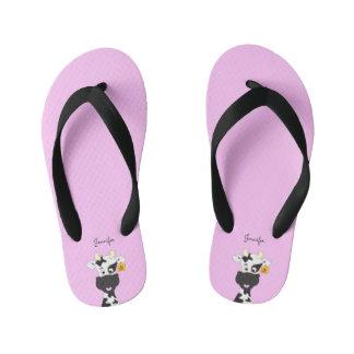 Funny cow cartoon pink custom kids slippers thongs
