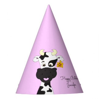 Funny cow cartoon pink girl name birthday party hat