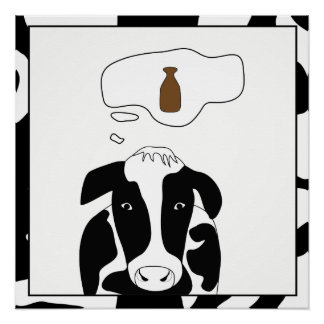 Funny Cow Chocolate Milk 20x20 Poster