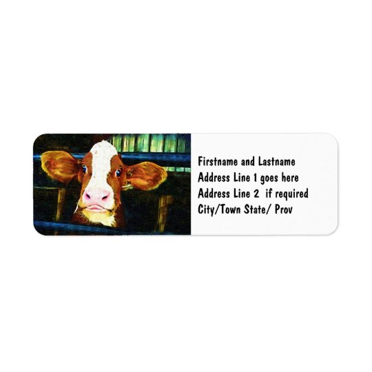 Funny Cow Face Return Address Label