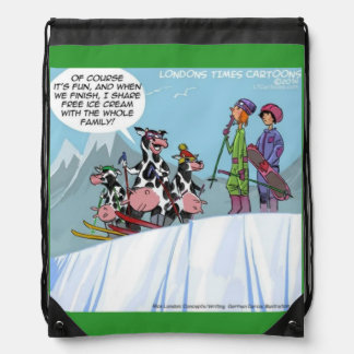 Funny Cow Family Ski Trip Lace Up Backpack Drawstring Backpack