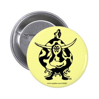 Funny cow graphic art cute button design