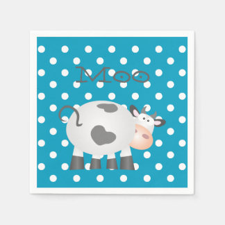 Funny Cow Moo And White Polka Dot Pattern Disposable Napkins