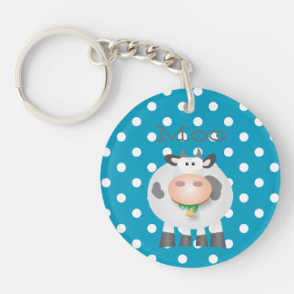 Funny Cow Moo And White Polka Dot Pattern Key Ring