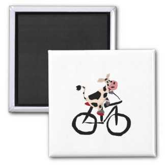 Funny Cow on Bicycle Square Magnet