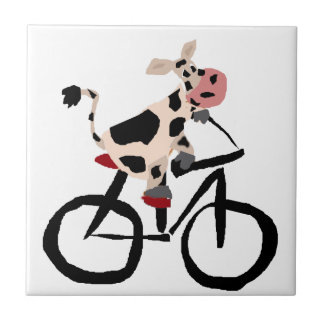 Funny Cow Riding Bicycle Art Small Square Tile