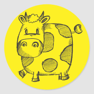Funny Cow Sketch Sticker