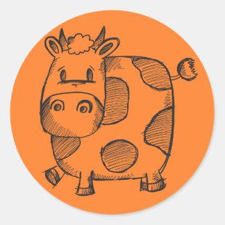 Funny Cow Sketch Round Sticker
