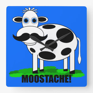 funny cow square wall clock