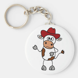 Funny Cow Wearing Red Cowboy Hat Basic Round Button Key Ring