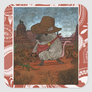 Funny Cowboy Birthday Square Sticker