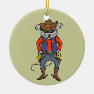 Funny Cowboy Mouse Round Ceramic Decoration