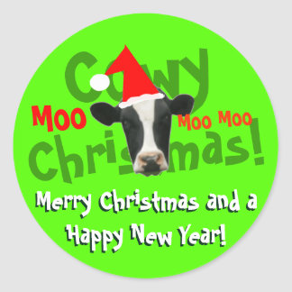 Funny Cowy Christmas Santa Cow Stickers