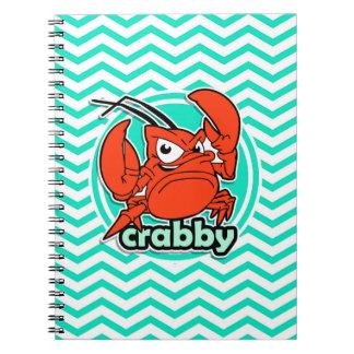 Funny Crab Aqua Green Chevron Note Book