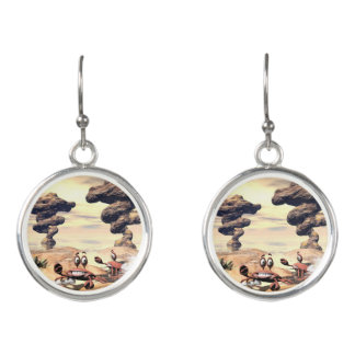 Funny crab on a little island earrings