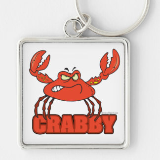 funny crabby red crab with an attitude Silver-Colored square key ring