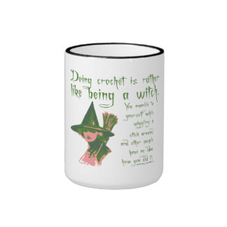 Funny CRAFT Crochet witch Ringer Mug