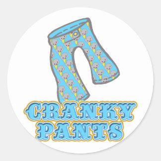 Funny Cranky Pants Design Round Sticker