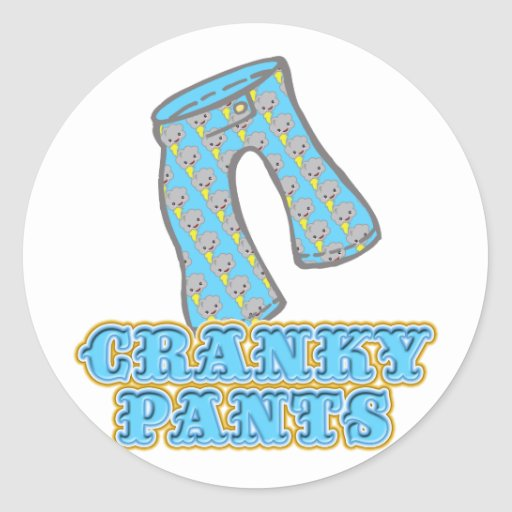 Funny Cranky Pants Design Stickers