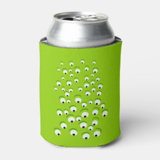 Funny Crazy and Curious Green Eyed Monster Can Cooler