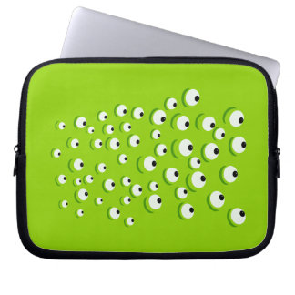 Funny Crazy and Curious Green Eyed Monster Laptop Sleeve