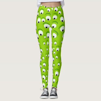 Funny Crazy and Curious Green Eyed Monster Leggings
