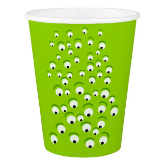 Funny Crazy and Curious Green Eyed Monster Paper Cup