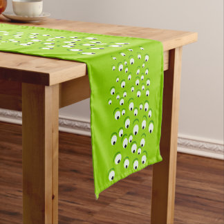 Funny Crazy and Curious Green Eyed Monster Short Table Runner