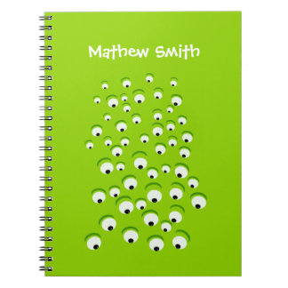 Funny Crazy and Curious Green Eyed Monster Spiral Notebook