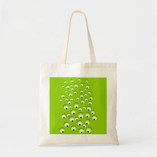Funny Crazy and Curious Green Eyed Monster Tote Bag