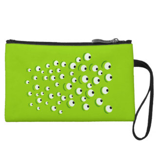 Funny Crazy and Curious Green Eyed Monster Wristlet