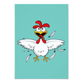 Funny Crazy Cartoon Chicken Wing Fling 13 Cm X 18 Cm Invitation Card