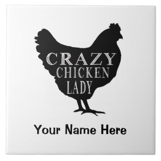 Funny Crazy Chicken Lady Hen Large Square Tile