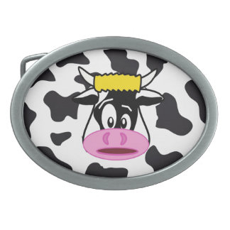 Funny Crazy Cow Bull on Dairy Cow Print Pattern Belt Buckle
