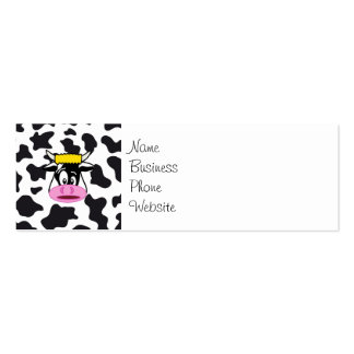 Funny Crazy Cow Bull on Dairy Cow Print Pattern Pack Of Skinny Business Cards